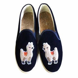 Soludos Alpaca Shoes Blue Velvet Slip-ons 8.5